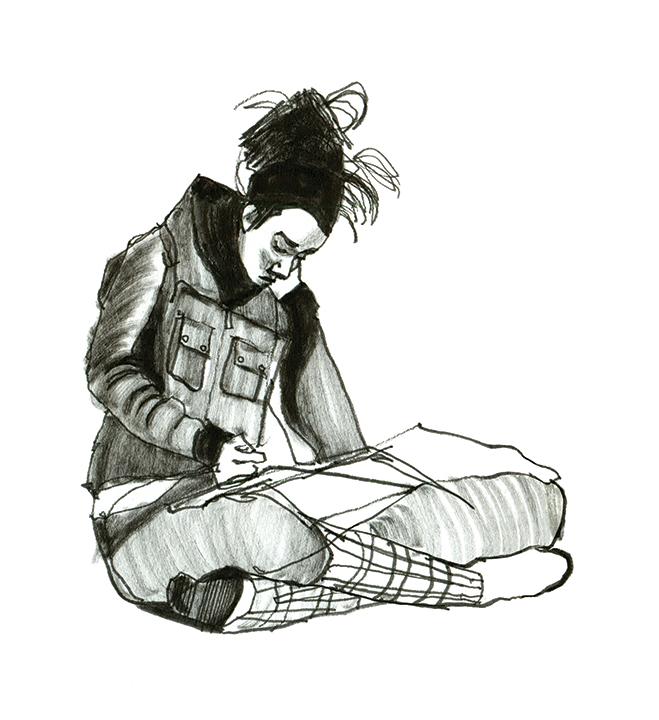 how to draw someone sitting cross legged